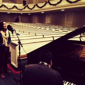 Kristen Gilles and Jonatan Barahona recording at Alumni Chapel, SBTS