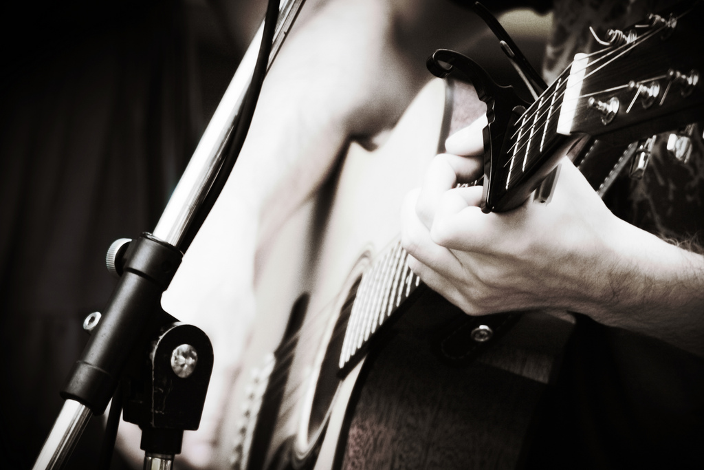 Sojourn Music guitar closeup photo by Dan Canales