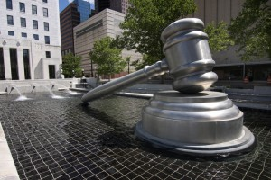 Public statue of judge's gavel