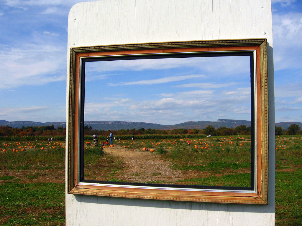 """Photo of outdoor scene cropped by picture frame to demonstrate that hymn meter is a """"frame"""""""