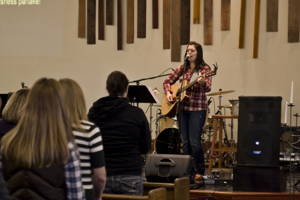Kristen Gilles Leading Worship solo at Sojourn Church women's conference