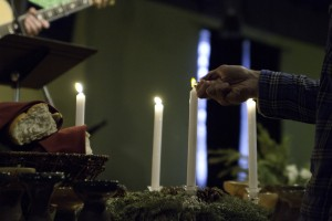 Lighting the Advent candles at Sojourn Church, where Kristen Gilles leads worship as part of Sojourn Music