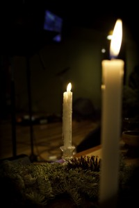 Advent season liturgical candles from Sojourn Church worship service