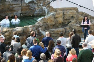 Kristen Gilles, reading a testimony of salvation at a Sojourn Church baptism service