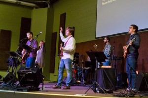 Kristen Gilles and the Sojourn Music band that led worship at Sojourn New Albany's launch service