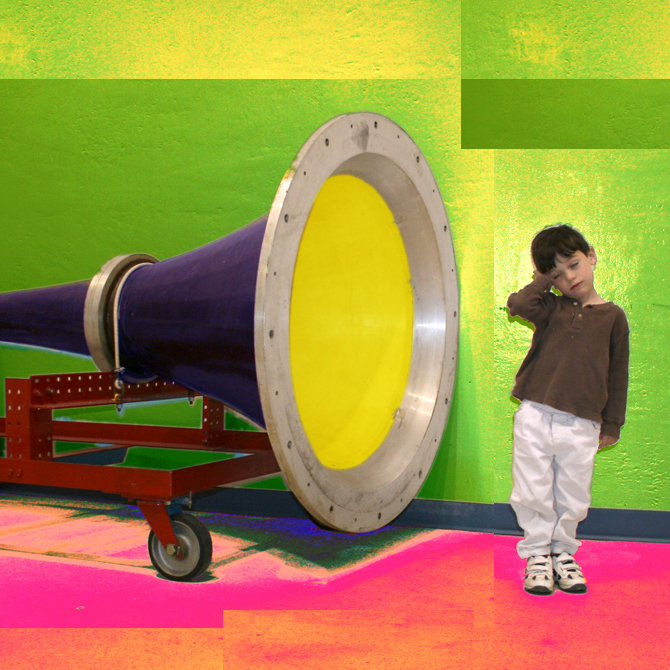 Giant bullhorn in front of child illustrates effect that criticism has on songwriters and other artists