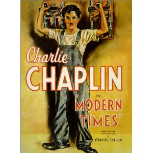"Promotional poster for Charlie Chaplin's ""Modern Times"""