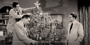Cliff Barrows, Billy Graham, and George Beverly Shea decorate a Christmas tree together