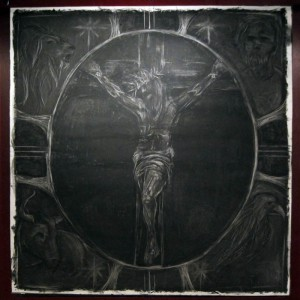 """""""Crucifixion"""" charcoal art by Brittany Jennings of Sojourn Visual Arts"""