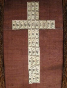 """Sojourn """"God Gave"""" liturgical art display for sermon series on money and giving"""