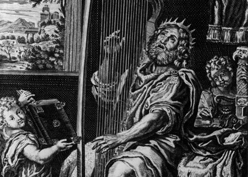 Classic image of King David the Psalmist playing his harp