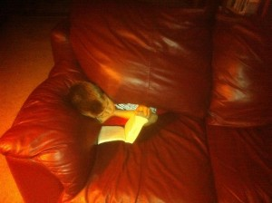 Our son Logan Gilles, obliviously reading a book as he literally sinks inside the fold of our leather couch.