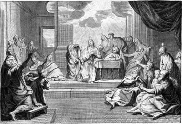 Engraving depicting the scene from Acts 2 on the Day of Pentecost