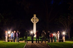 Worship leaders from the Refuge SSI retreat, singing and praying together at the Wesley Memorial on St. Simons Island