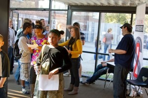 Sojourn Student Ministry (S2) greets visitors during the Sojourn New Albany campus launch
