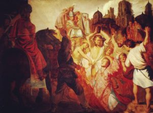 Artwork of the stoning of Stephen in Acts 7, the first Christian martyr