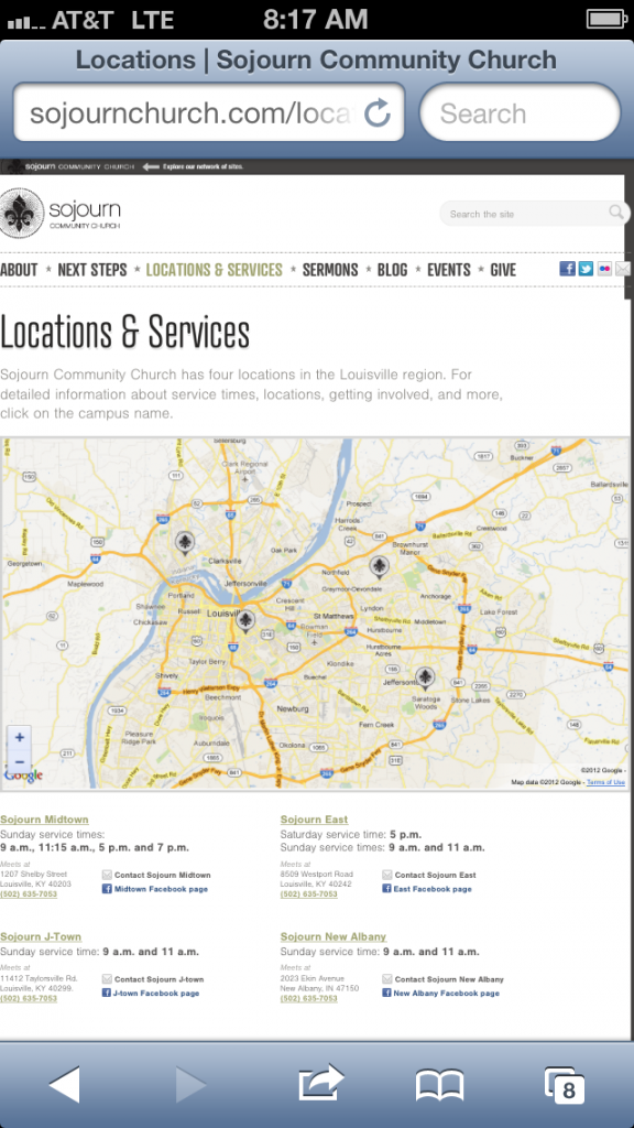 Locations and Service Times page for Sojourn Community Church website (sojournchurch.com)