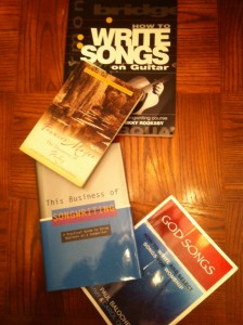 Book covers of some of the best books for worship music songwriters, like God Songs: How To Write And Select Songs For Worship