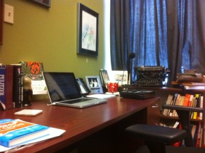 A photo of Bobby Gilles's office. Everything is just where he wants it ... even his unusable antique Underwood Standard typewriter